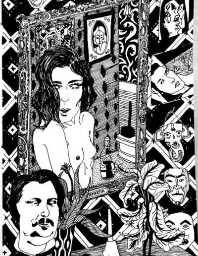 benjamin-murphy-art-tape-sketchesBalzacAndRoseW